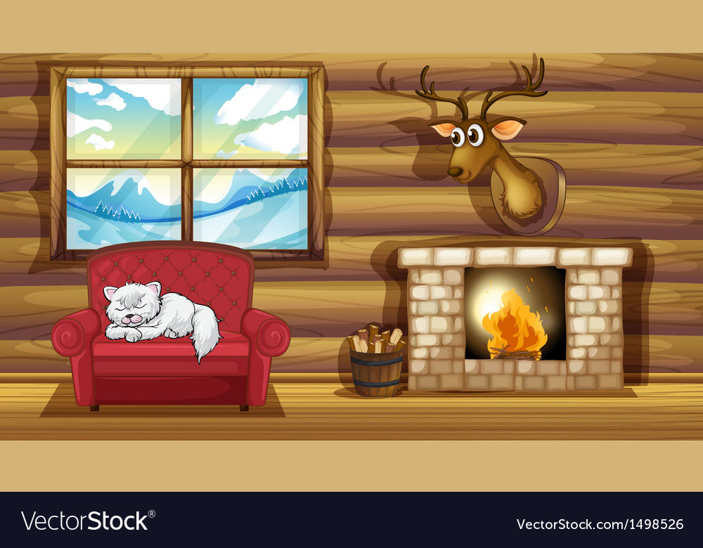 A cat sleeping above the chair near the fireplace vector | Price: 1 Credit (USD $1)