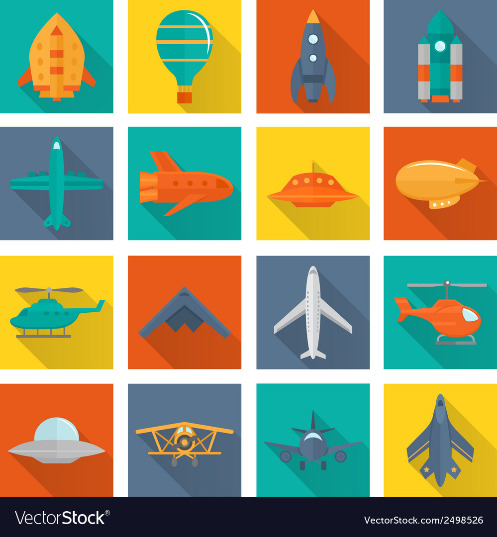 Aircraft icons set vector | Price: 1 Credit (USD $1)
