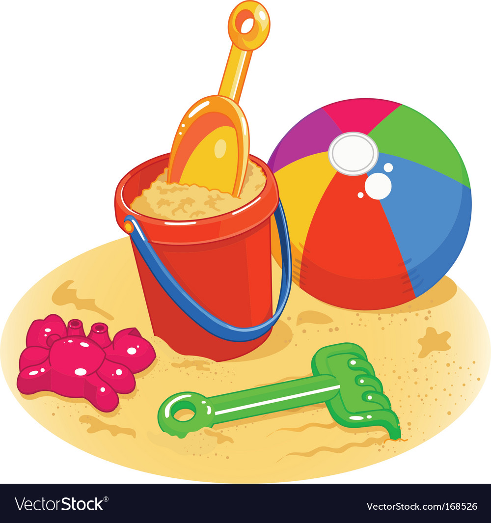 Beach toys pail shovel ball vector | Price: 1 Credit (USD $1)