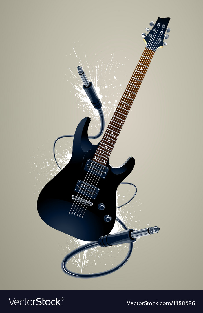 Black guitar with cables vector | Price: 3 Credit (USD $3)