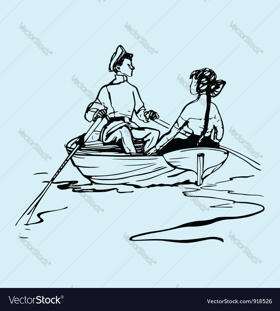 Boy and girl in the boat vector | Price: 1 Credit (USD $1)