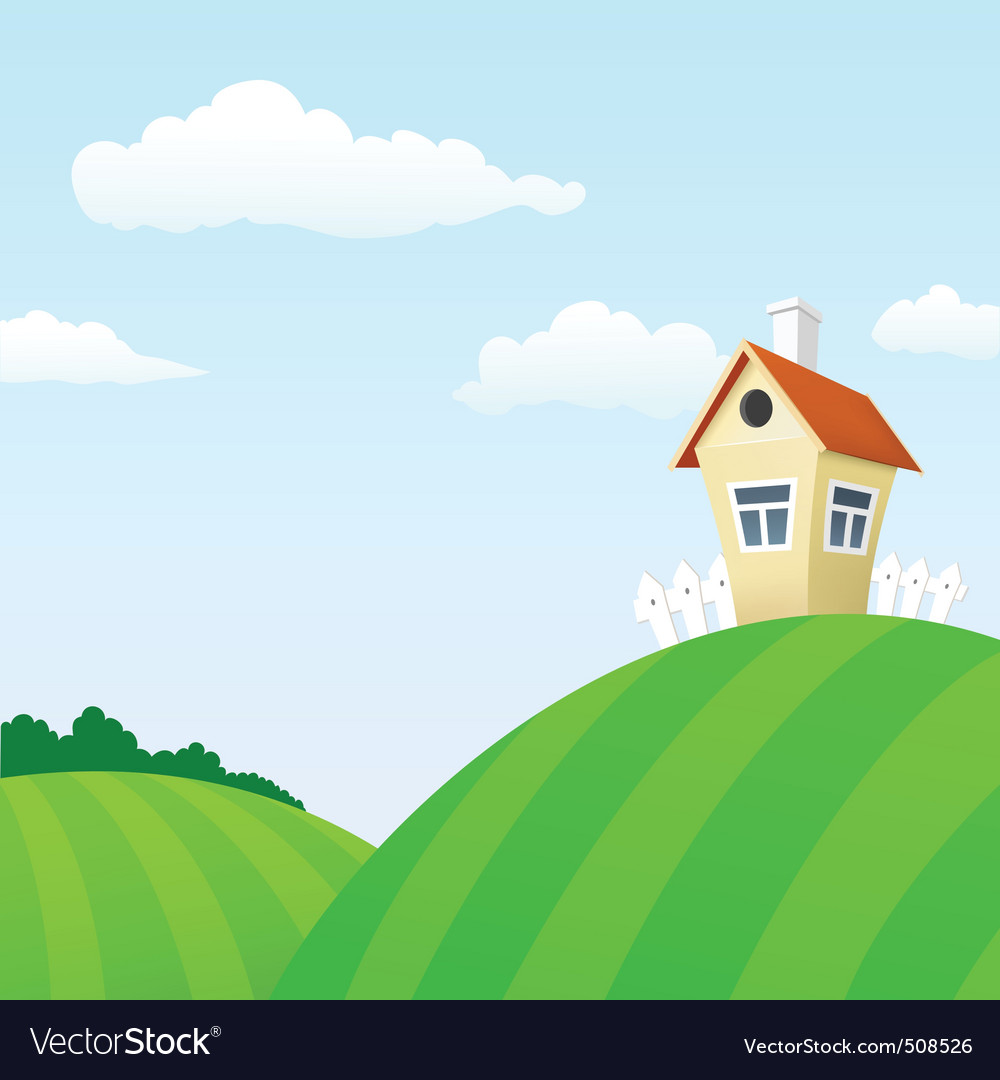 Cartoon nature landscape with house vector | Price: 1 Credit (USD $1)