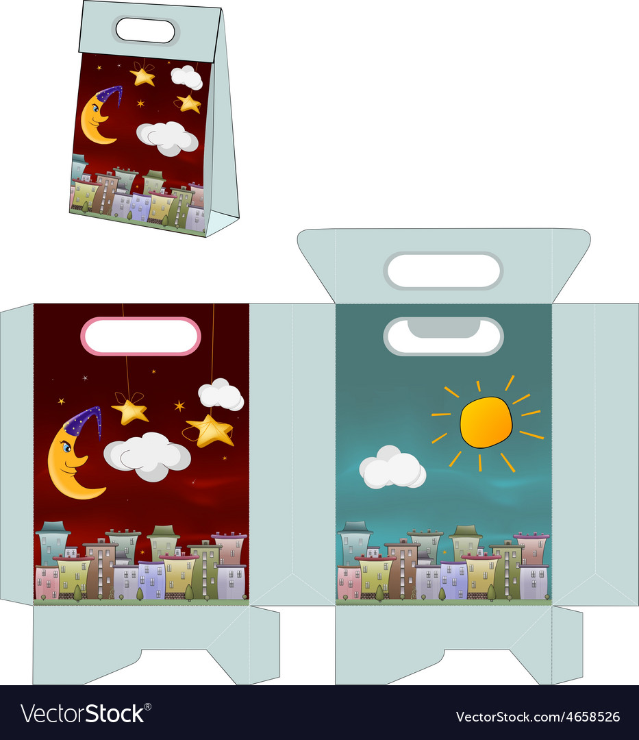Day and night city handbag packages pattern vector | Price: 1 Credit (USD $1)