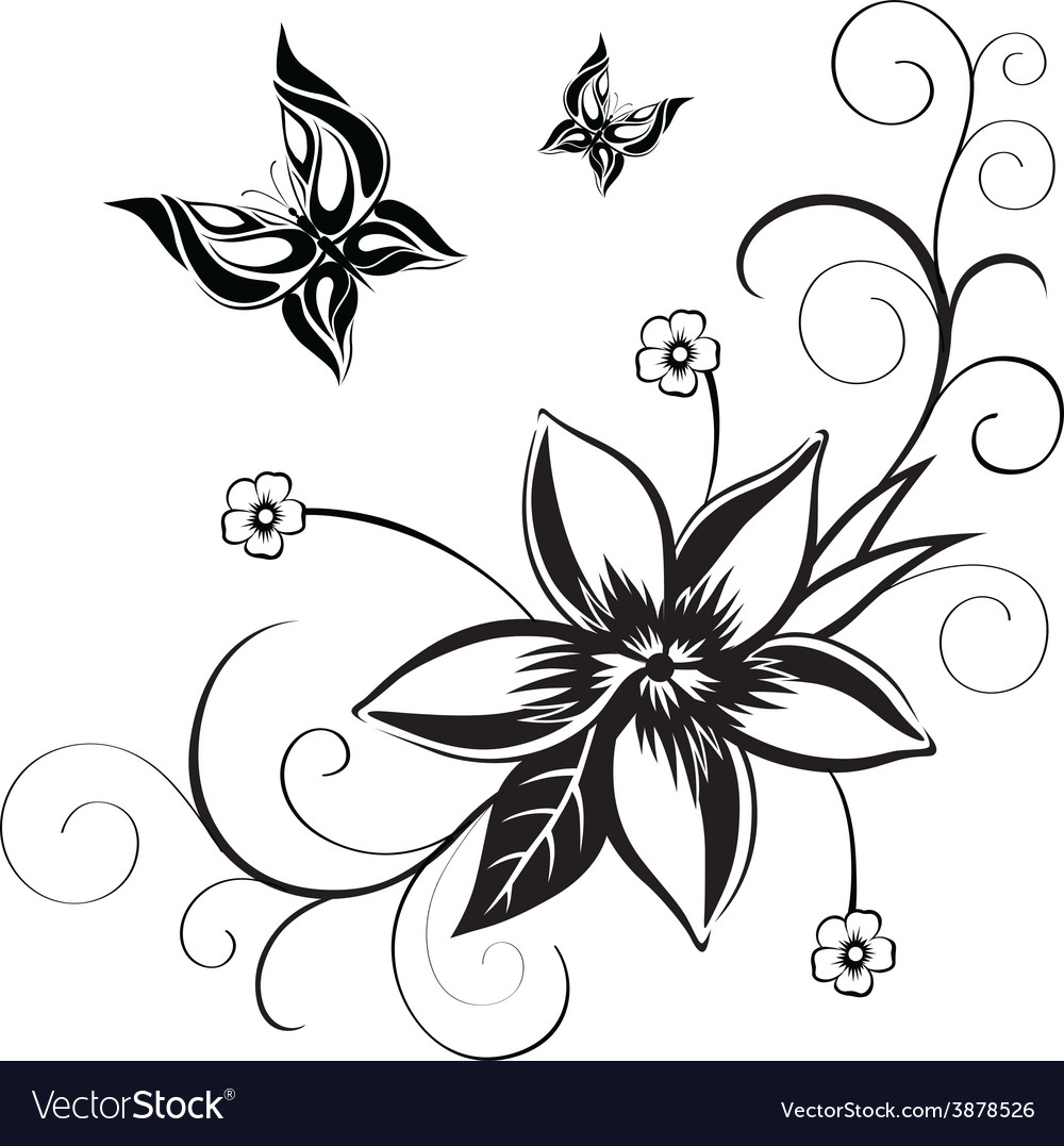 Decorative composition of curls flower and vector | Price: 1 Credit (USD $1)