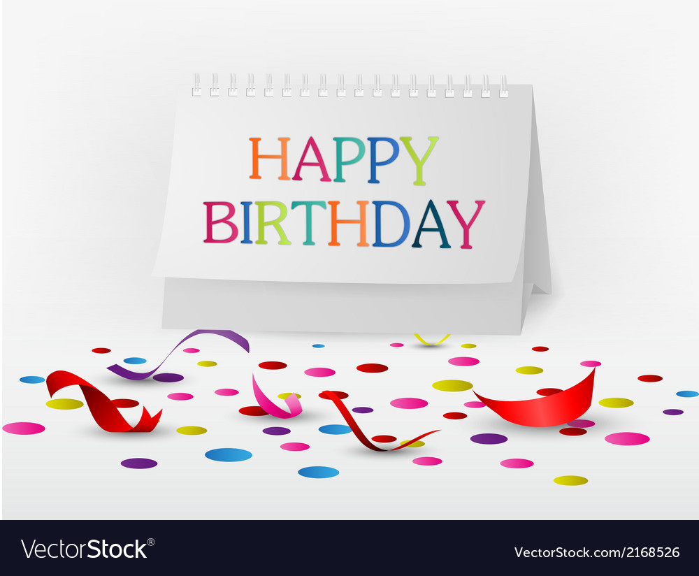 Happy birthday greetings card with note paper vector | Price: 1 Credit (USD $1)