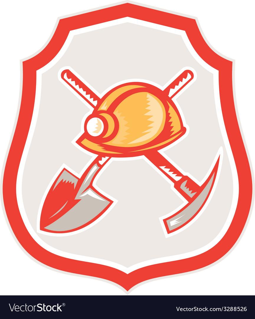 Miner hardhat spade pick axe shield retro vector | Price: 1 Credit (USD $1)