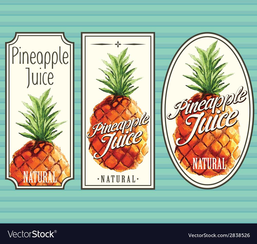 Pineapple juice labels set vector | Price: 1 Credit (USD $1)