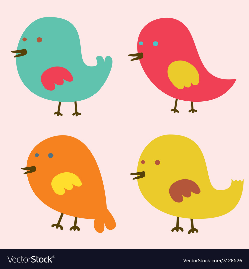Set of lovely birds vector | Price: 1 Credit (USD $1)