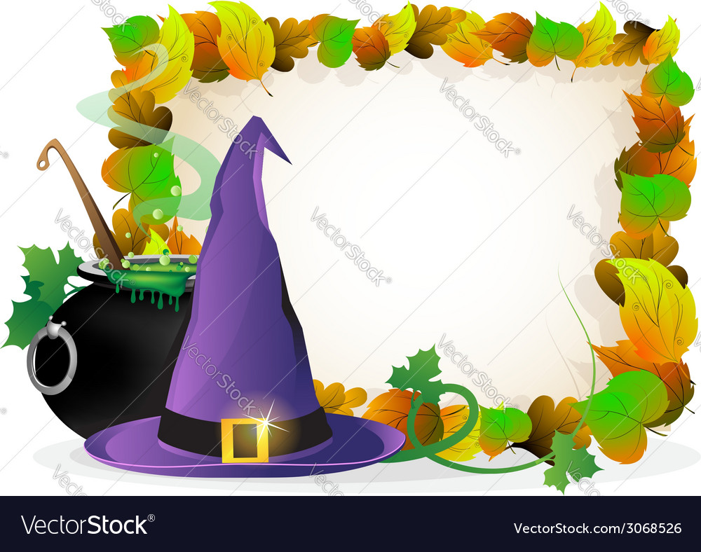 Witch hat and cauldron on autumn leaves background vector | Price: 1 Credit (USD $1)