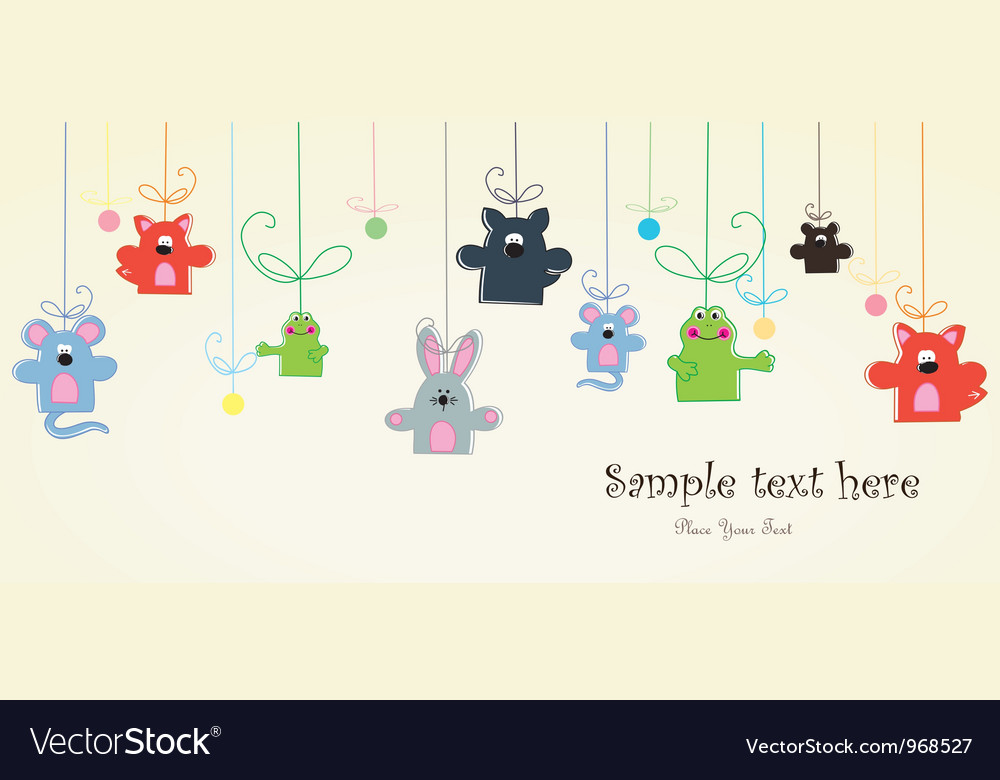 Baby postcard with animals vector