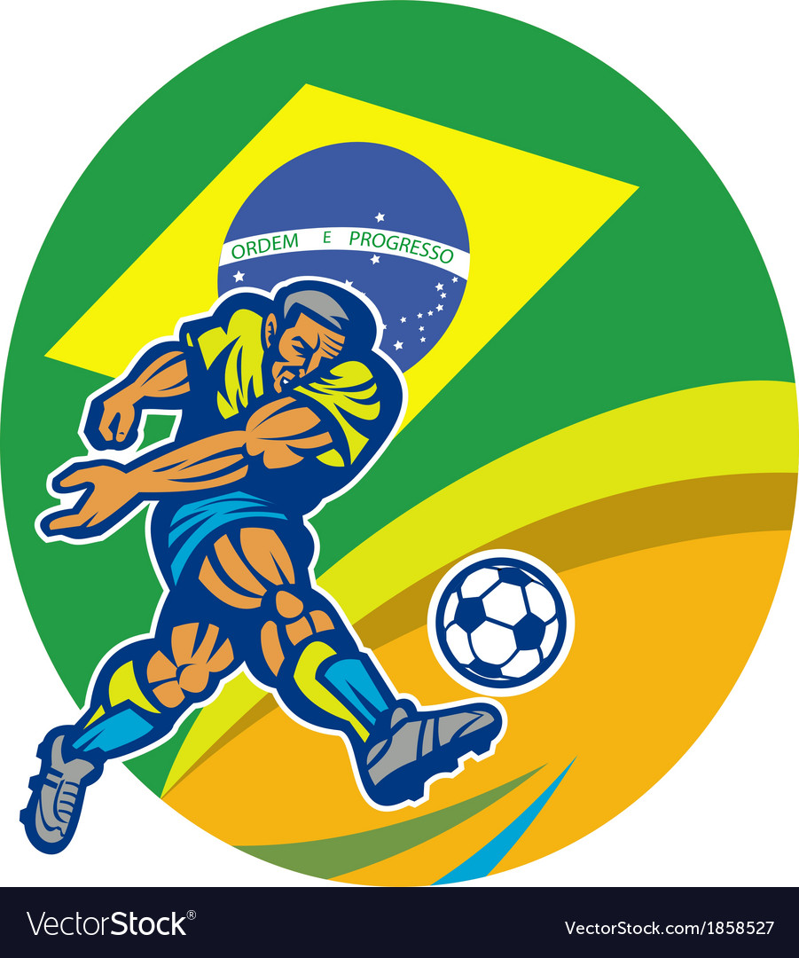 Brazil soccer football player kicking ball retro vector | Price: 1 Credit (USD $1)