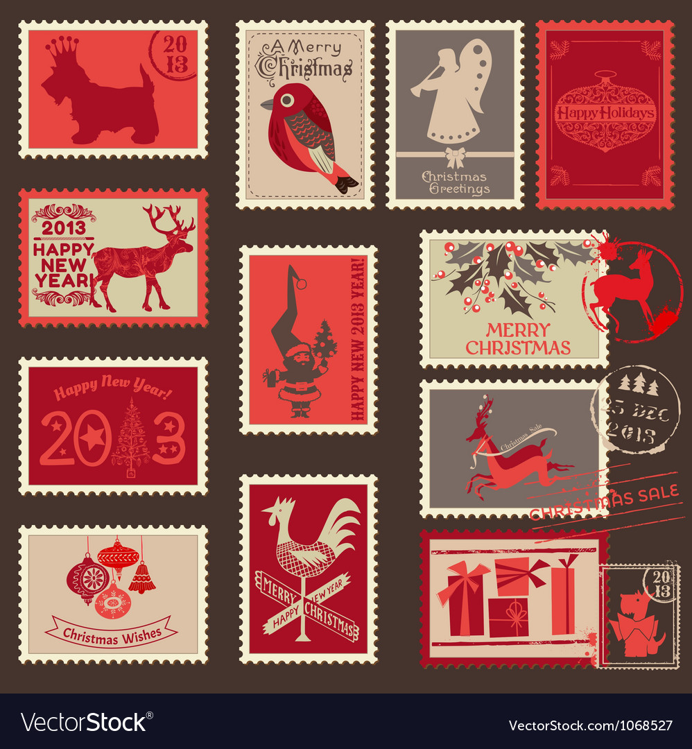 Christmas postage stamps vector | Price: 1 Credit (USD $1)