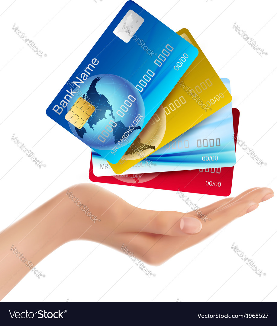 Hand holding credit cards vector | Price: 1 Credit (USD $1)