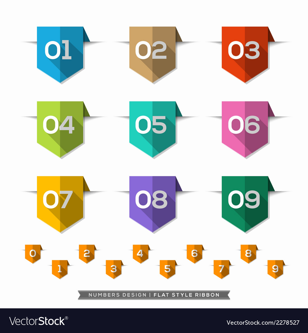 Label bookmark with number long shadow flat icons vector | Price: 1 Credit (USD $1)