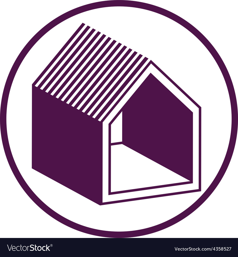 Real estate icon abstract house depiction property vector | Price: 1 Credit (USD $1)