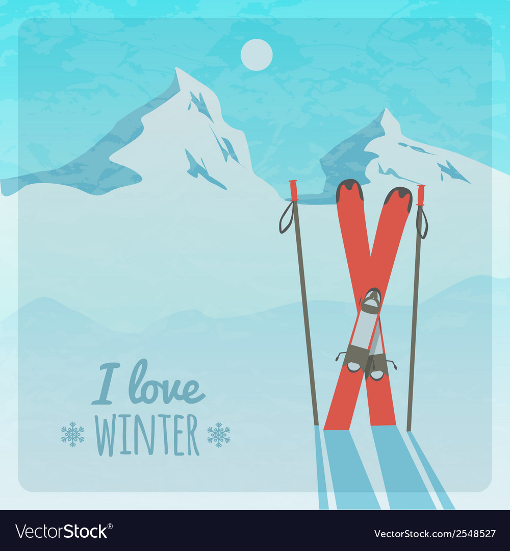 Retro with snowy mountains and skis vector | Price: 1 Credit (USD $1)