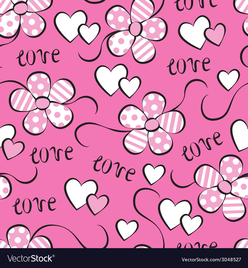Seamless pattern with flowers and hearts vector | Price: 1 Credit (USD $1)