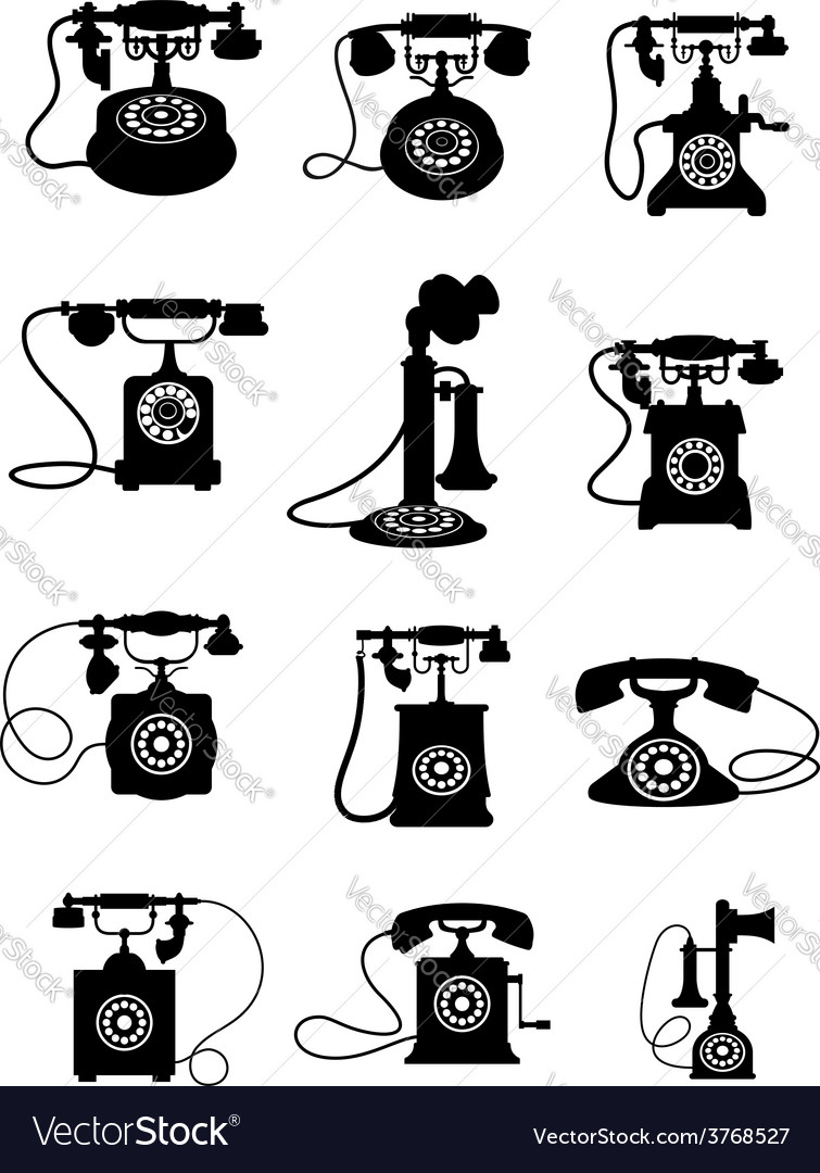 Silhouette of vintage telephones vector | Price: 1 Credit (USD $1)
