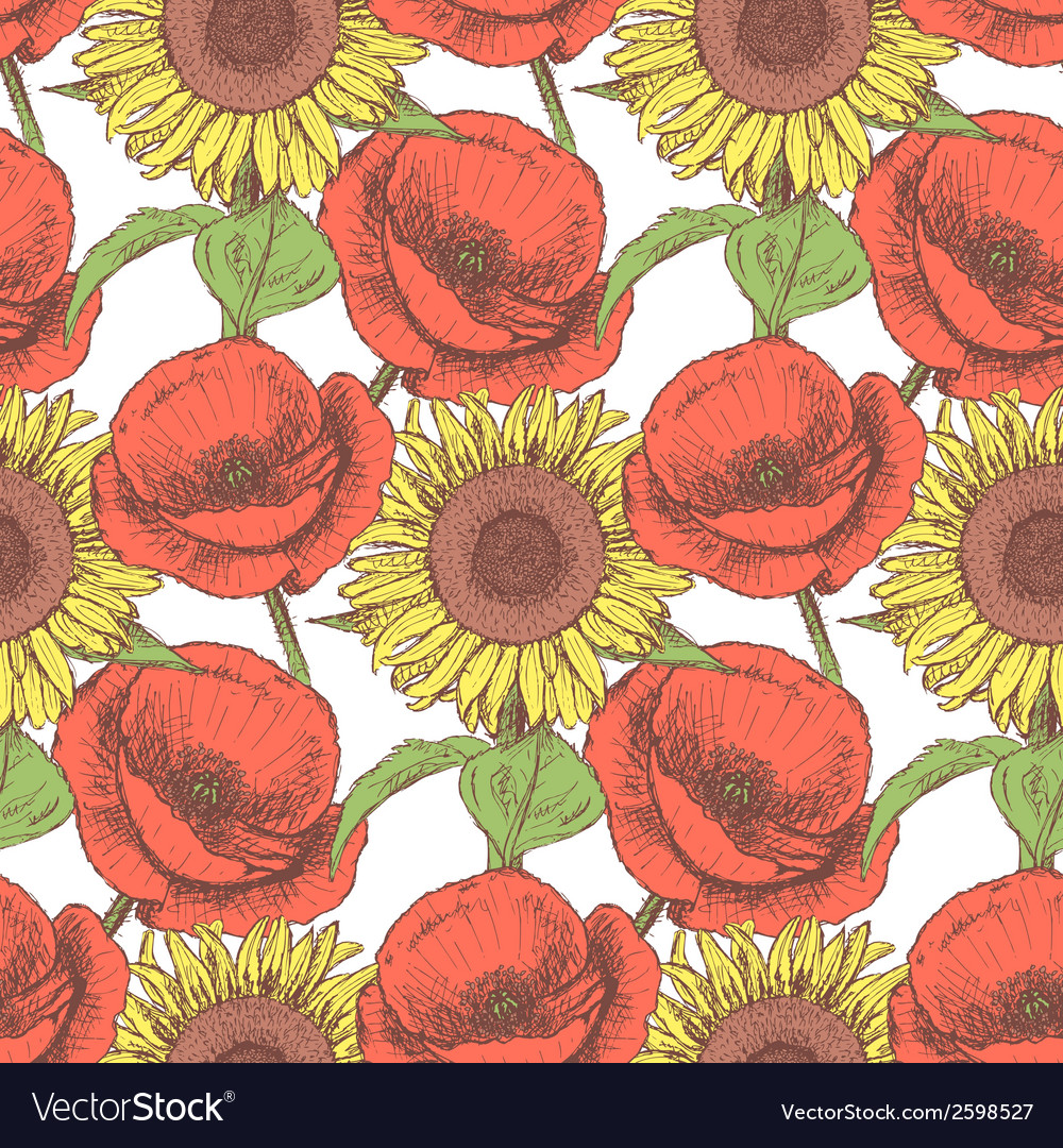 Sunflower poppy vector | Price: 1 Credit (USD $1)