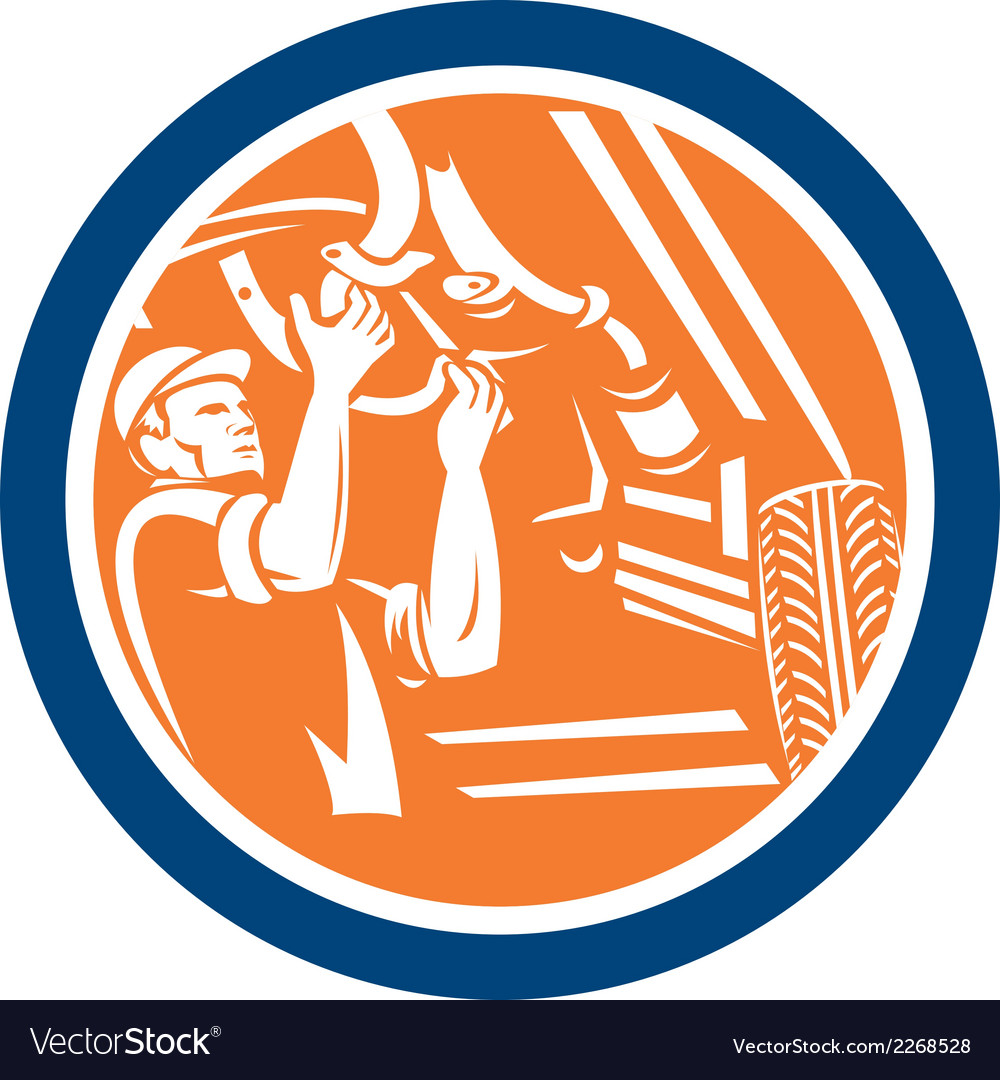 Auto mechanic automobile car repair circle retro vector | Price: 1 Credit (USD $1)