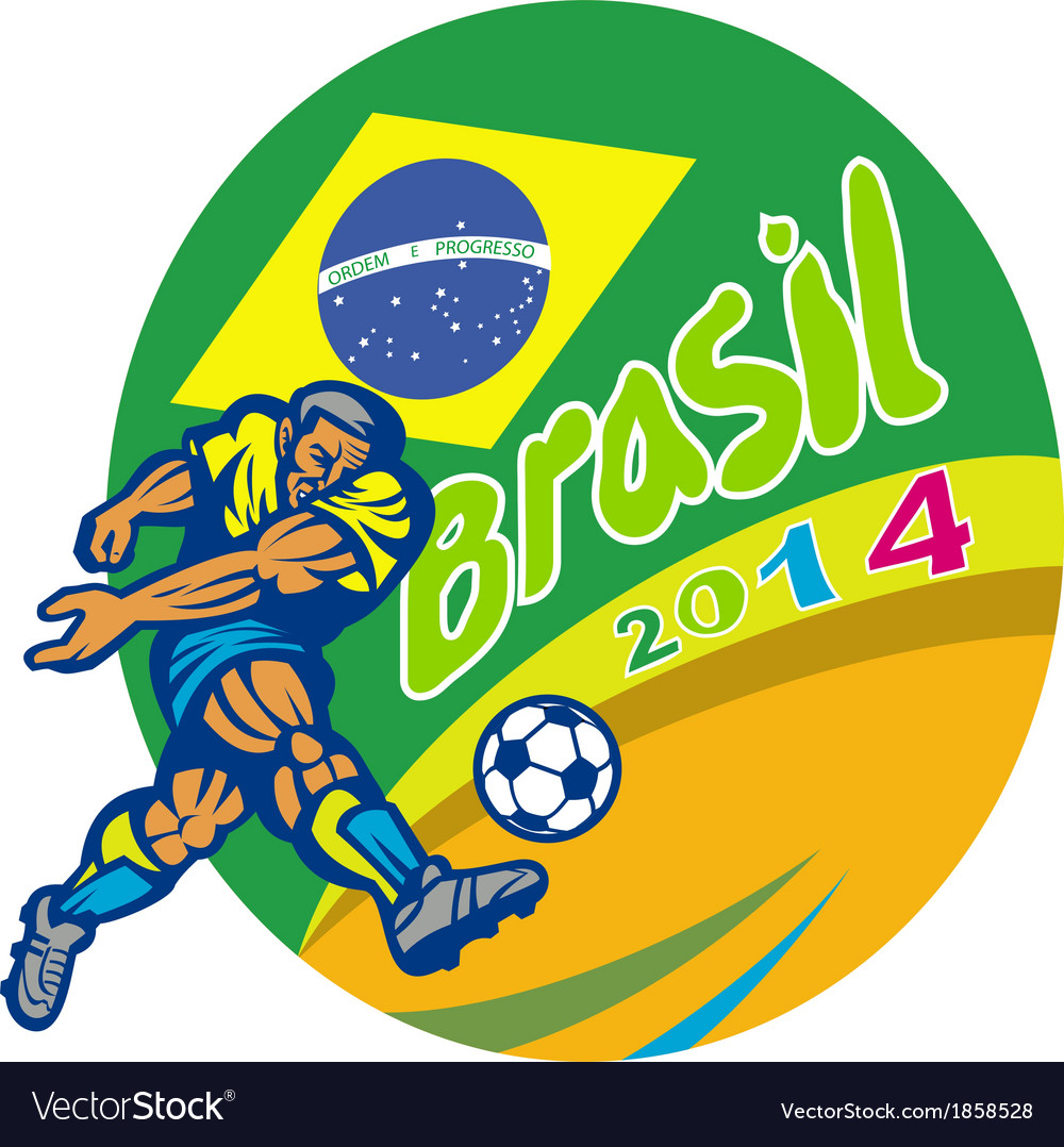Brasil 2014 football player kicking retro vector | Price: 1 Credit (USD $1)