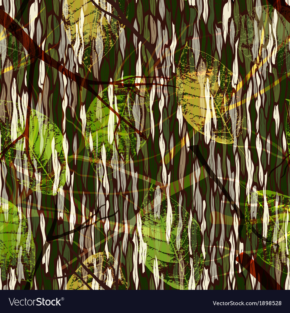 Camouflage seamless pattern with realistic leaves vector | Price: 1 Credit (USD $1)
