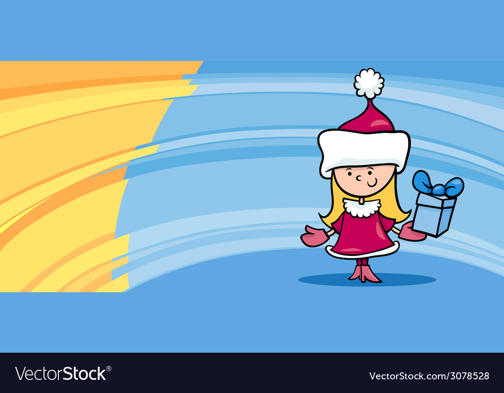 Little girl santa greeting card cartoon vector | Price: 1 Credit (USD $1)