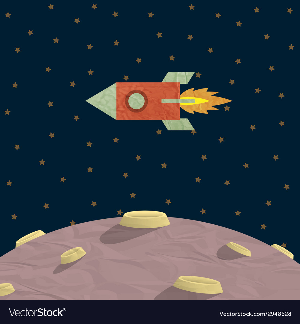 Papercraft rocket and planet vector | Price: 1 Credit (USD $1)