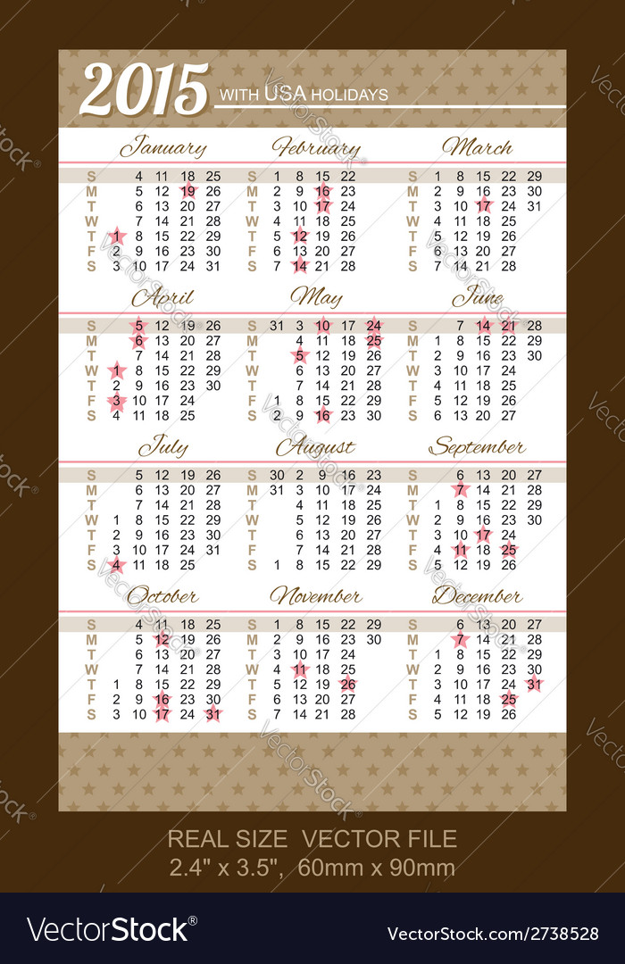 Pocket calendar 2015 with usa holidays vector | Price: 1 Credit (USD $1)