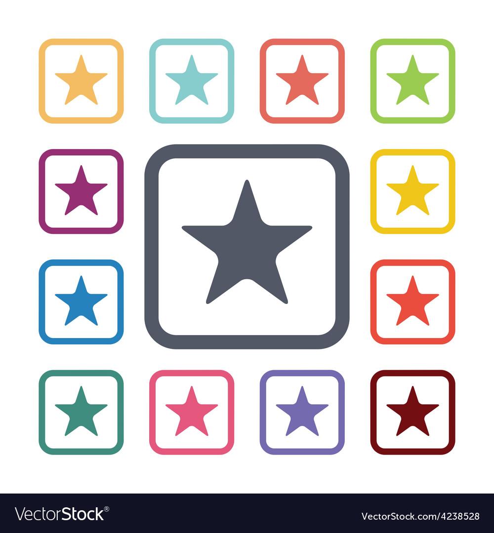 Star flat icons set vector | Price: 1 Credit (USD $1)