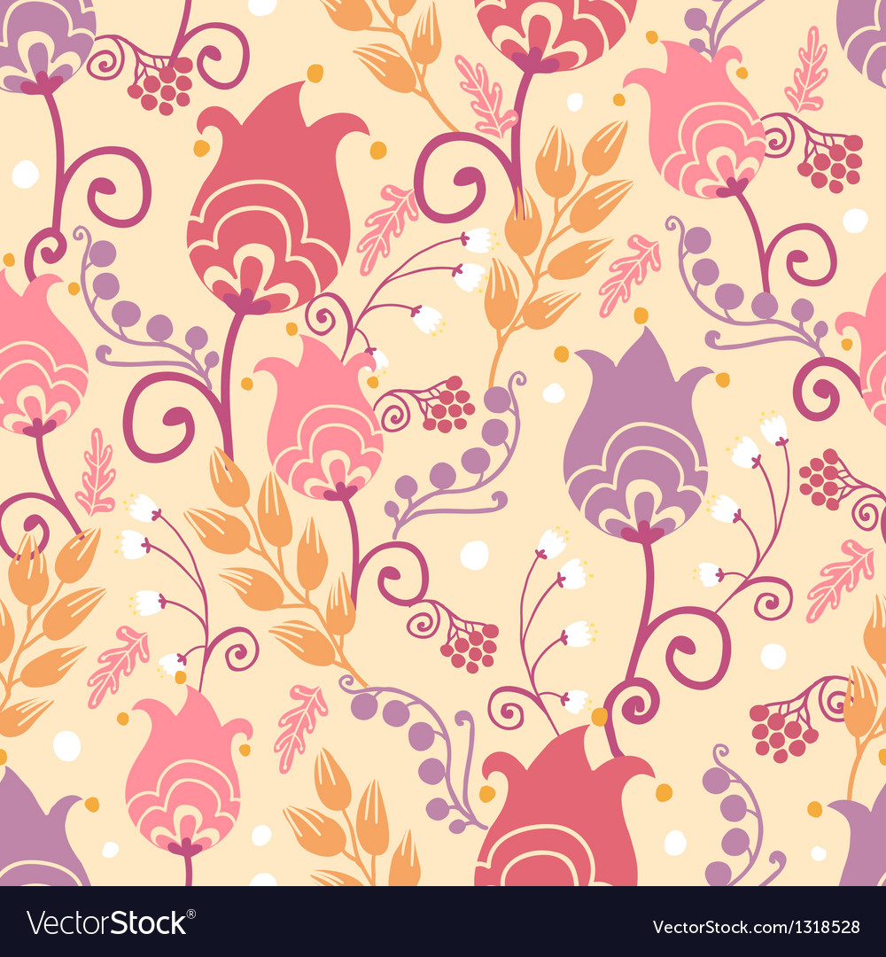 Tulip flowers seamless pattern background vector | Price: 1 Credit (USD $1)