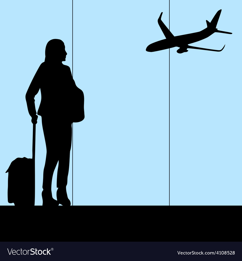 Woman in airport vector | Price: 1 Credit (USD $1)