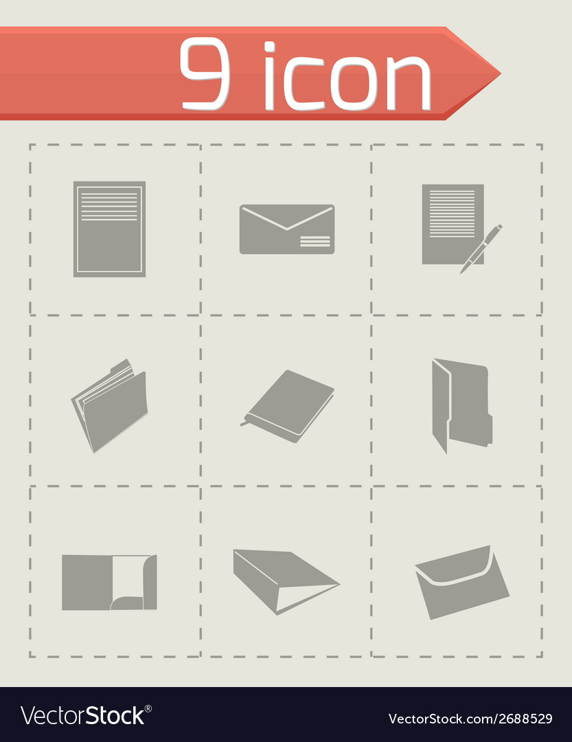 Black document icons set vector | Price: 1 Credit (USD $1)