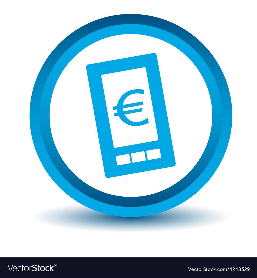 Blue euro phone icon vector | Price: 1 Credit (USD $1)