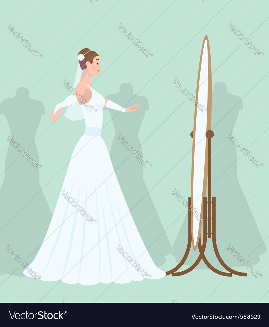 Bride in the mirror vector
