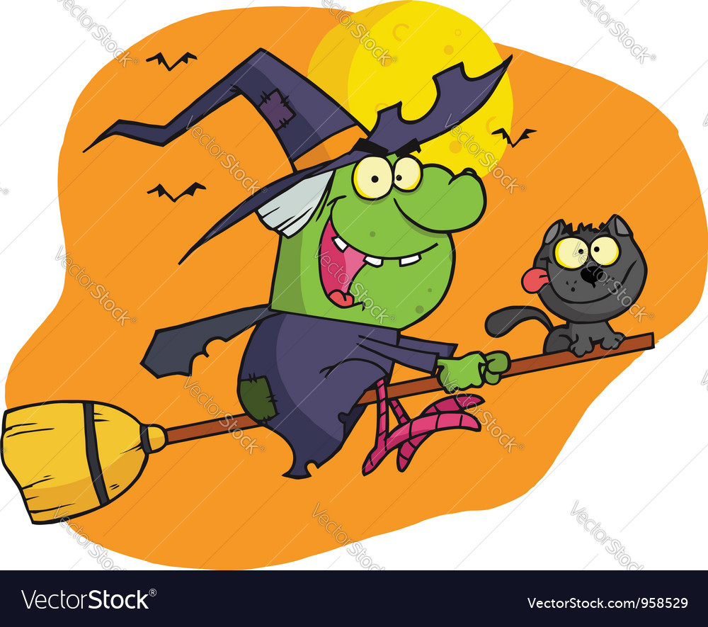 Character harrison rode a broomstick with a cat vector | Price: 1 Credit (USD $1)