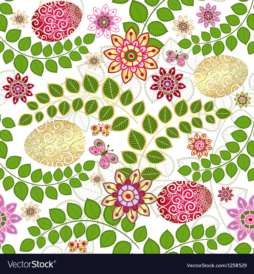Easter seamless floral pattern vector   Price: 1 Credit (USD $1)