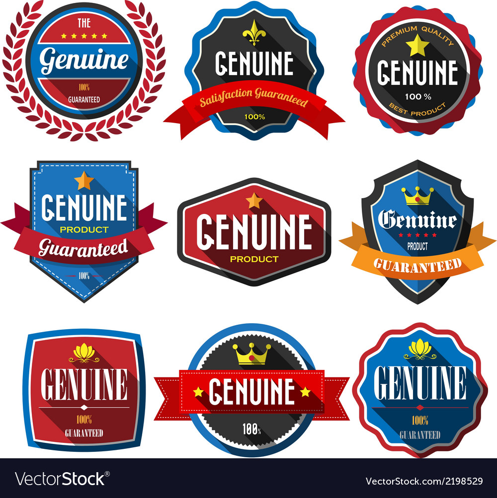 Genuineretro vintage badges and labels flat design vector | Price: 1 Credit (USD $1)