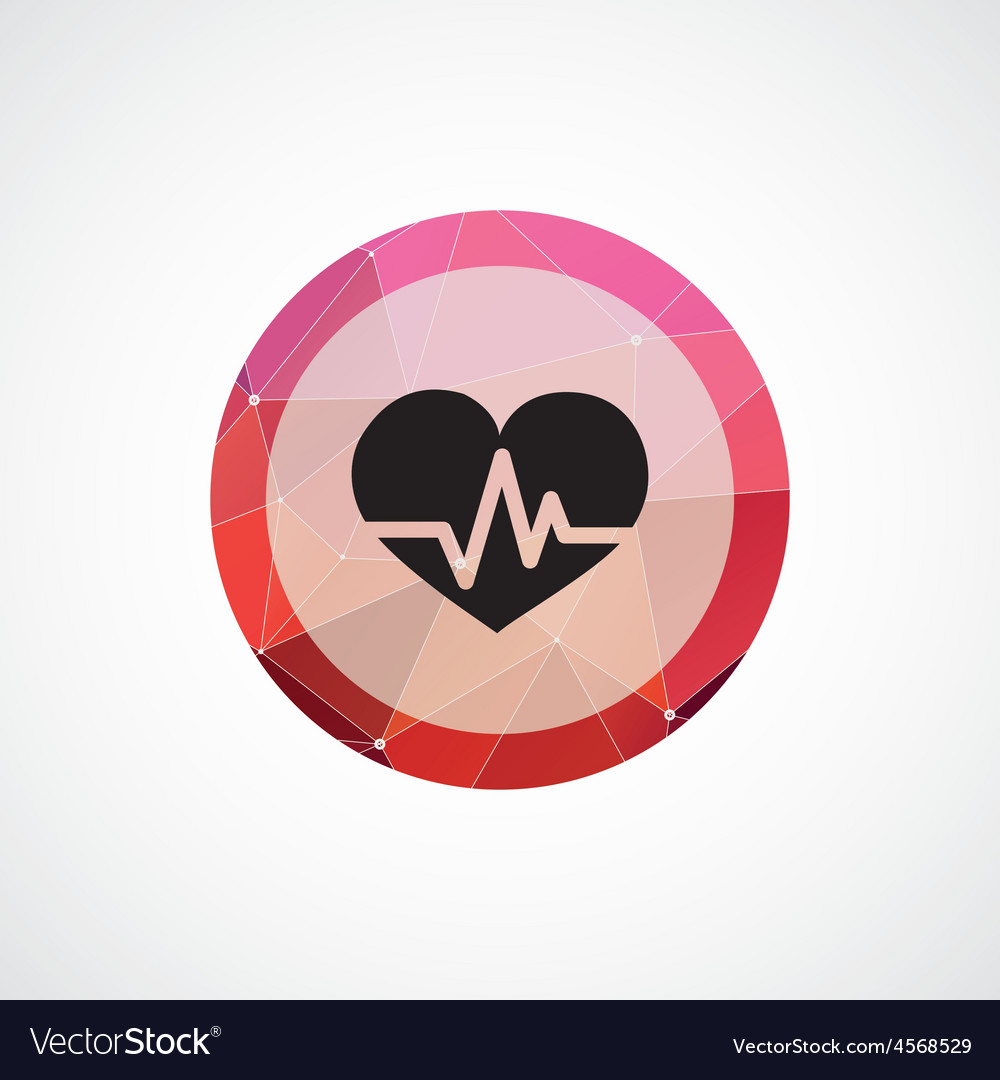 Heart pulse circle pink triangle background icon vector | Price: 1 Credit (USD $1)