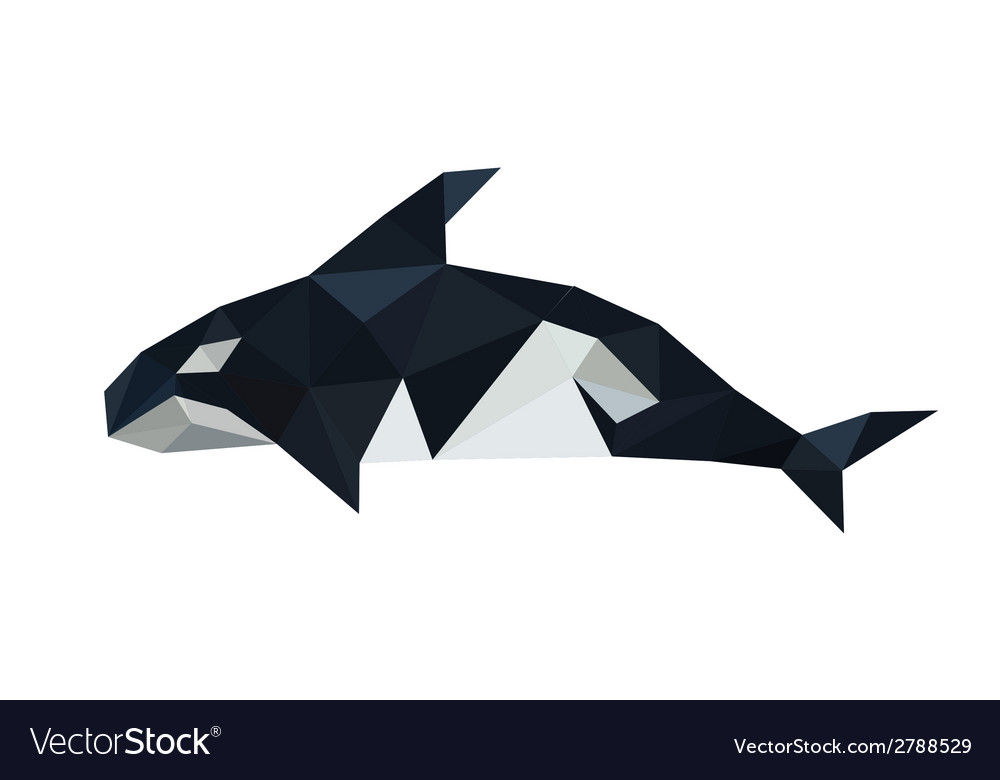 Origami orca dolphin isolated on white background vector | Price: 1 Credit (USD $1)