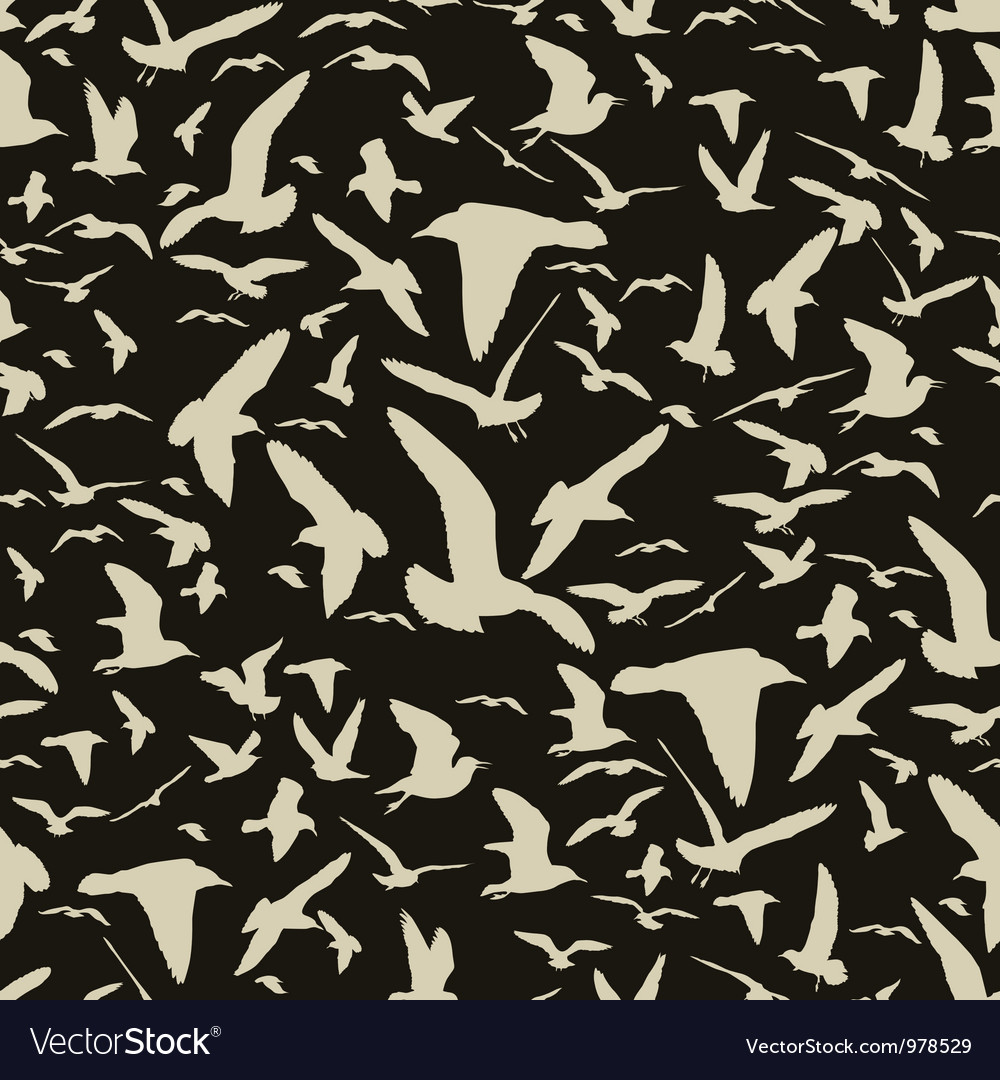 Seamless pattern with seagull silhouettes vector   Price: 1 Credit (USD $1)