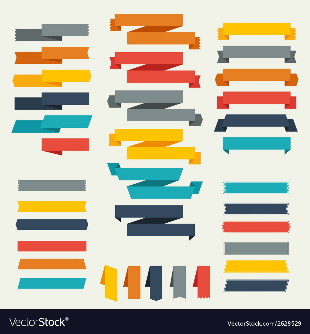 Set of retro ribbons and labels for design vector | Price: 1 Credit (USD $1)