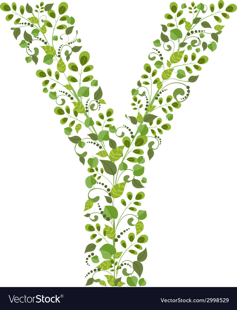 Spring green leaves eco letter y vector | Price: 1 Credit (USD $1)
