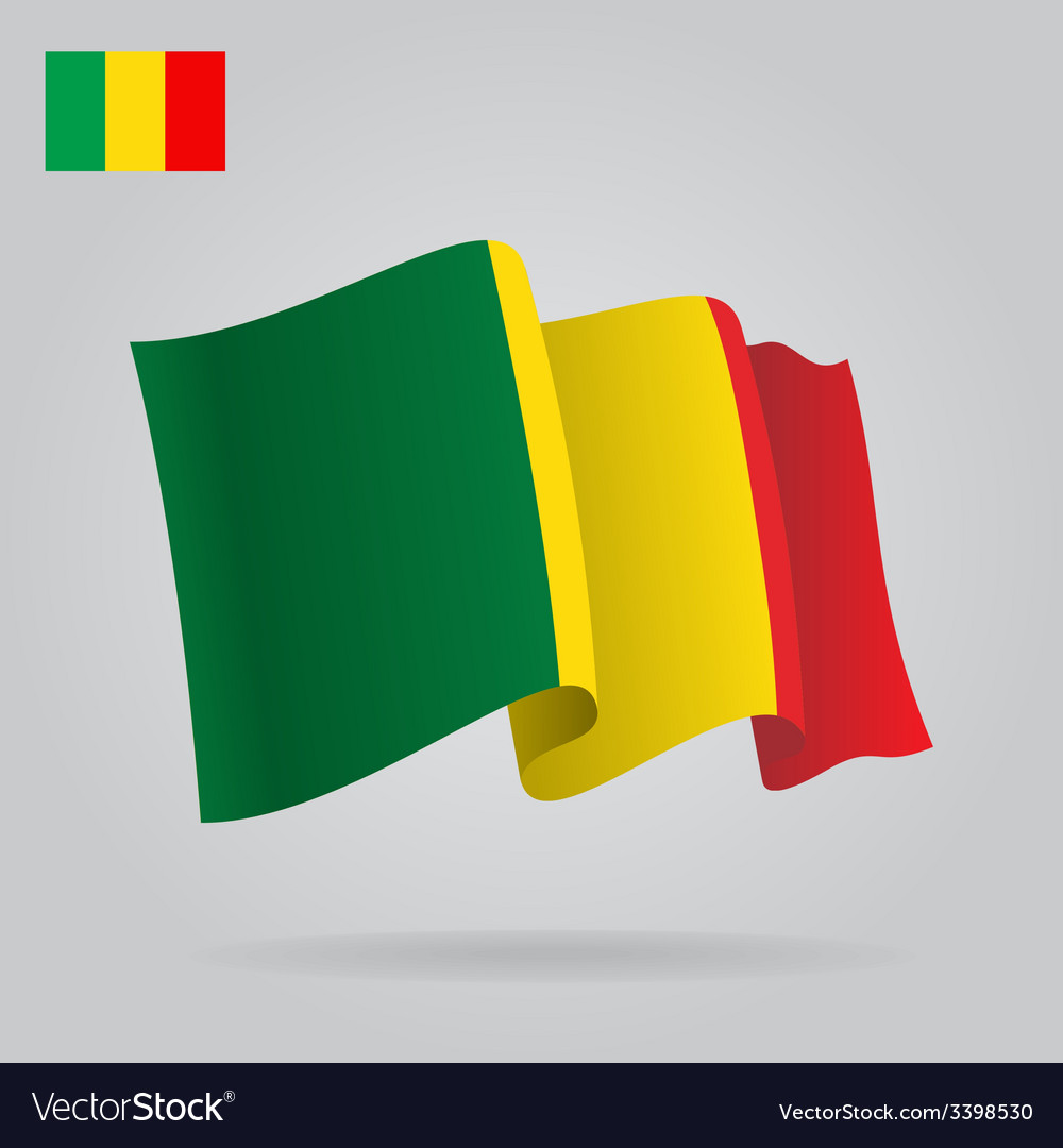 Background with waving mali flag vector | Price: 1 Credit (USD $1)