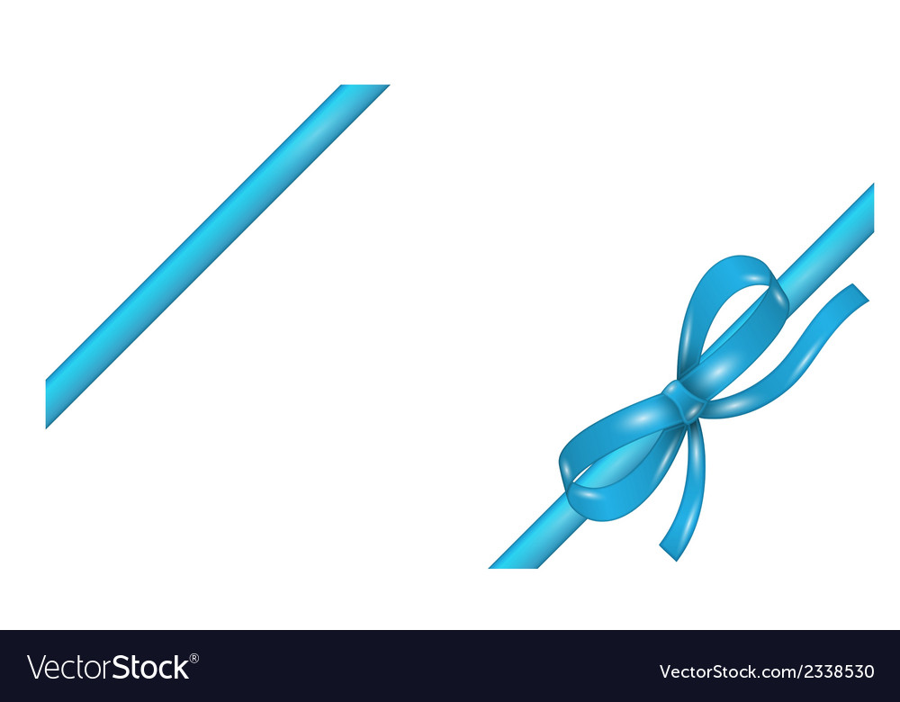 Blue ribbon with bow vector | Price: 1 Credit (USD $1)