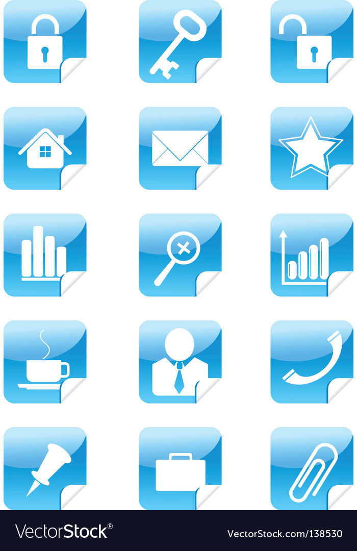 Blue web icons stickers set vector | Price: 1 Credit (USD $1)