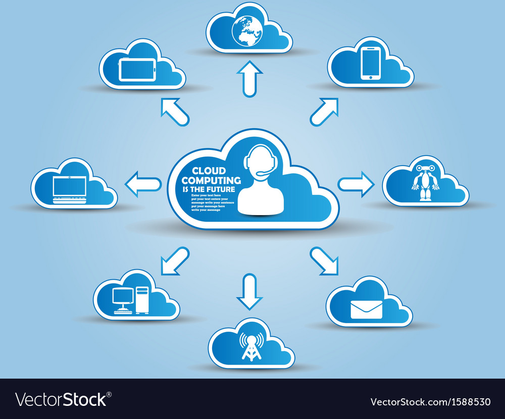 Cloud computing white and blue vector | Price: 1 Credit (USD $1)