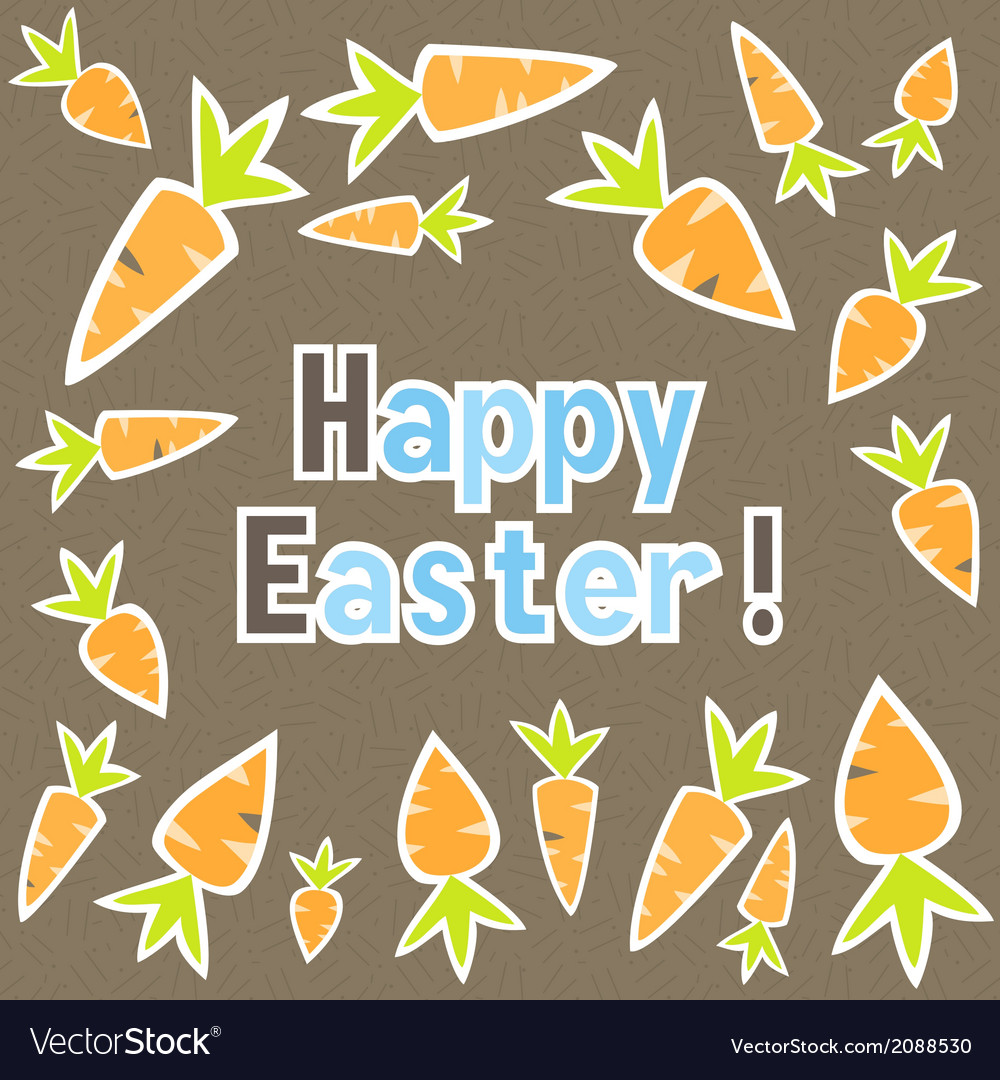 Easter carrots card on a brown vector | Price: 1 Credit (USD $1)
