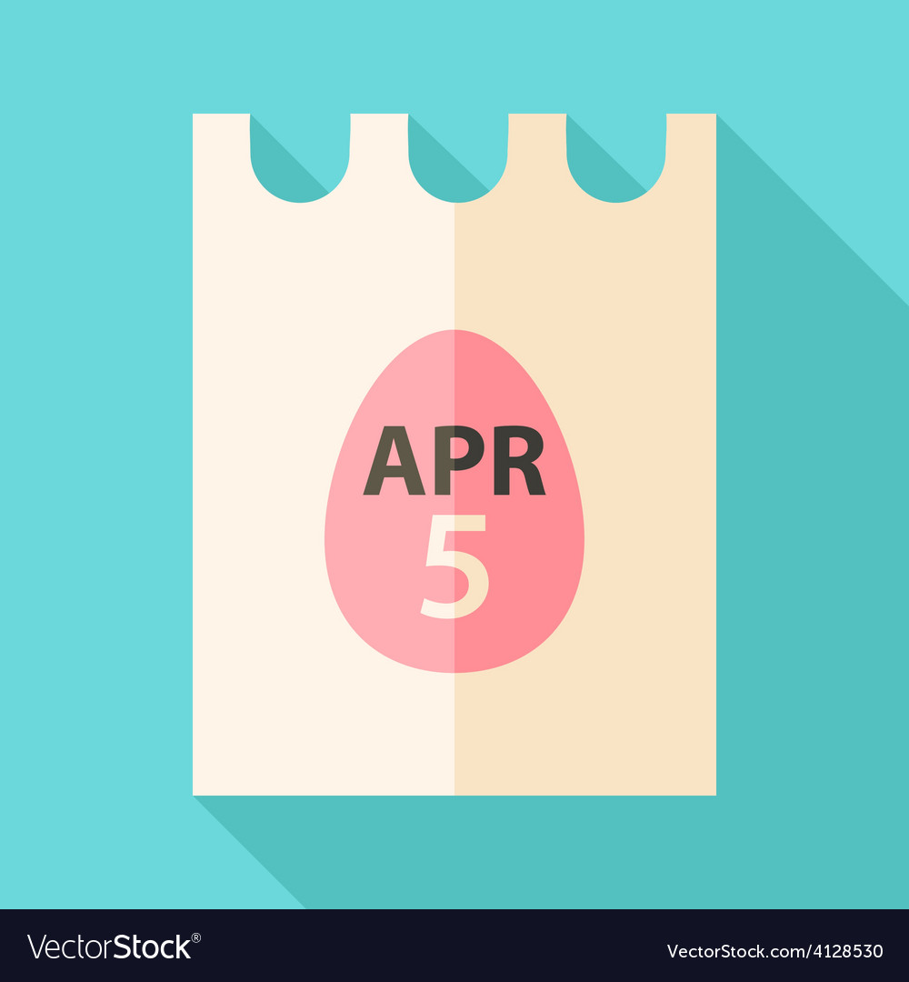 Easter piece of paper with date 5 april and egg vector | Price: 1 Credit (USD $1)