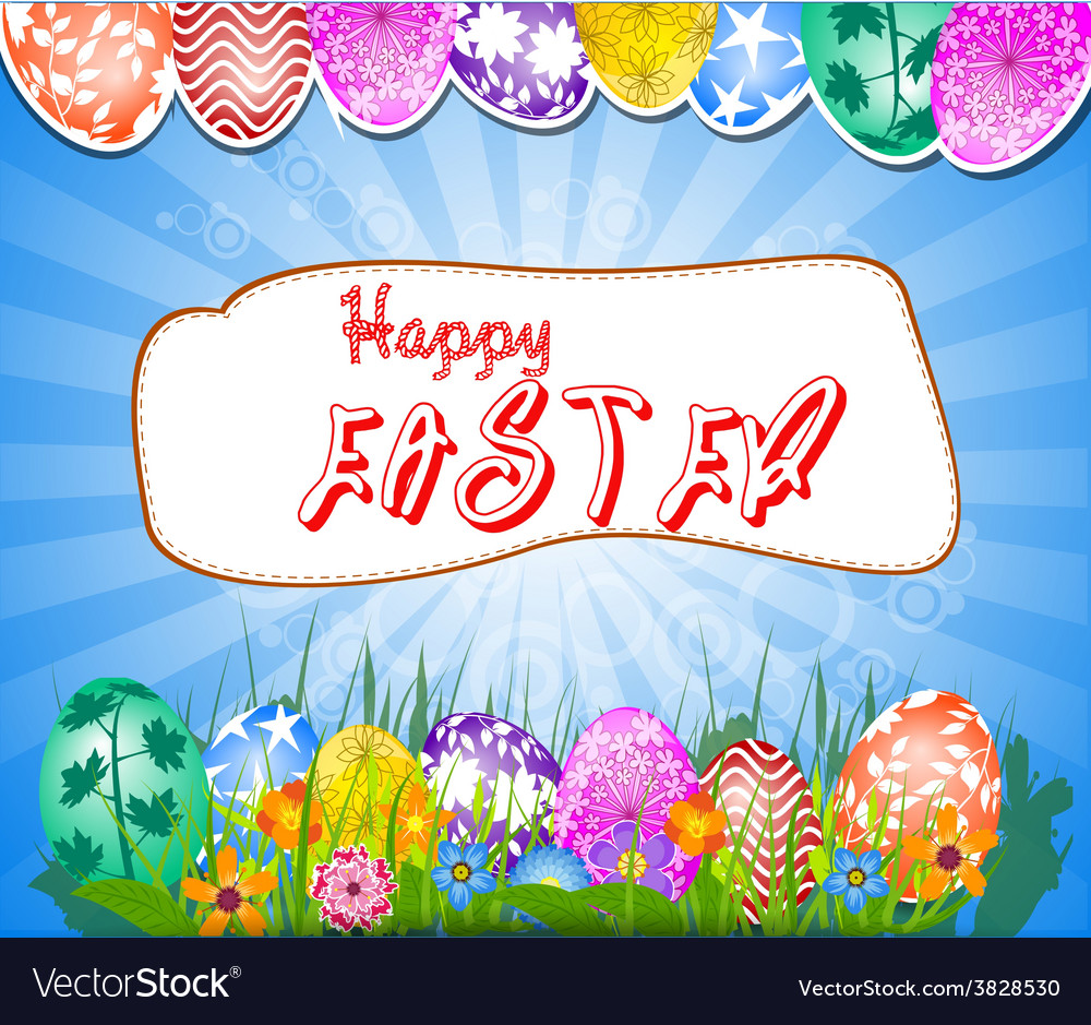 Happy easter background with eggs in grass and vector | Price: 1 Credit (USD $1)